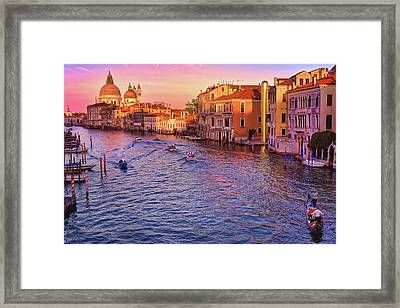 The Sun Is Setting In Venice Framed Print