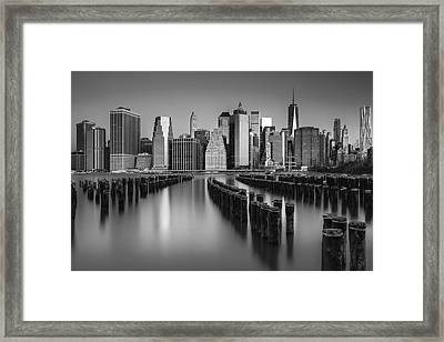 The Sun Rises At The New York City Skyline Bw Framed Print by Susan Candelario