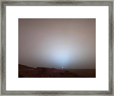 The Sun Setting Below The Rim Of Gusev Framed Print by Nasa