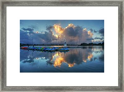 Framed Print featuring the photograph The Sun Settles At The Shoreline by Peter Thoeny