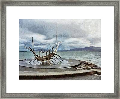 Framed Print featuring the digital art The Sun Voyager by Digital Photographic Arts