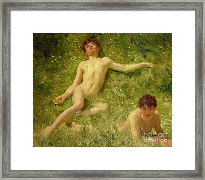The Sunbathers Framed Print by Henry Scott Tuke