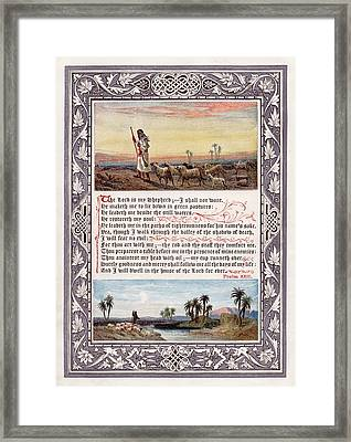 The Sunday At Home 1880 - Psalm 23 Framed Print by Pg Reproductions