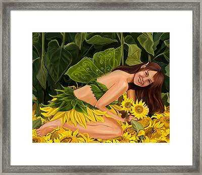 The Sunflower Fairy Framed Print by Maggie Terlecki