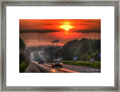 The Sunrise Commute Georgia Interstate 20 Framed Print by Reid Callaway