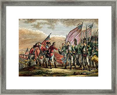 The Surrender Of General John Burgoyne At The Battle Of Saratoga Framed Print by Godefroy