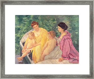 The Swim Or Two Mothers And Their Children On A Boat Framed Print by Mary Stevenson Cassatt