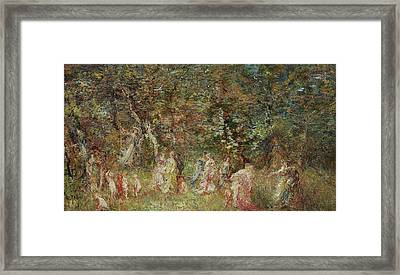 The Swing Framed Print by Adolphe Joseph Thomas Monticelli