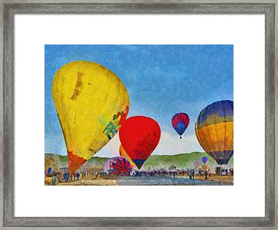 Framed Print featuring the digital art The Taos Mountain Balloon Rally 6 by Digital Photographic Arts