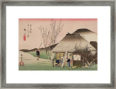 The Teahouse At Mariko Framed Print by Hiroshige