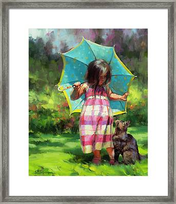 The Teal Umbrella Framed Print
