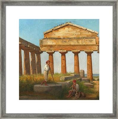 The Temple Of Ceres At Paestum Framed Print by Constantin Hansen