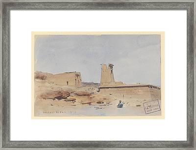 The Temple Of Dendur Showing The Pylon And Terrace Framed Print by Frederick Arthur Bridgman