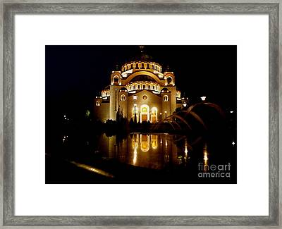 Framed Print featuring the photograph The Temple Of Saint Sava In Belgrade  by Danica Radman