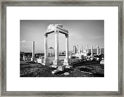 The Temple Of Zeus. Laodicea, Turkey.    Black And White Framed Print