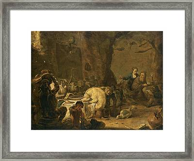 The Temptation Of Saint Anthony Framed Print by Cornelis Saftleven