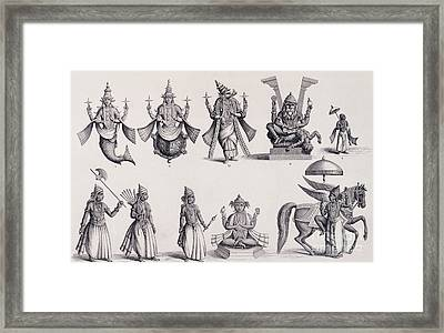 The Ten Avatars Or Incarnations Of Vishnu Framed Print by English School
