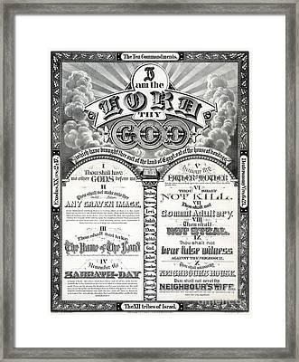 The Ten Commandments 1876 Vintage Poster Restored Framed Print by Carsten Reisinger