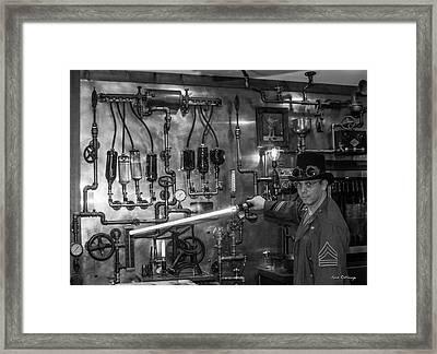 The Tender Steampunk Interior Design 8 B W Atlanta Man-cave Art Framed Print
