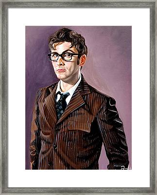 The Tenth Doctor And His Tardis Framed Print