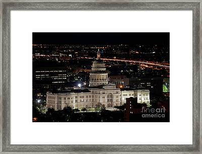 The Texas State Capitol At Night As Rush Hour Traffic Lights Str Framed Print
