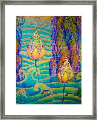 The Thai Art Of Religion On Wall Of Temple. Framed Print by Shattha Pilabut
