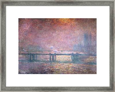The Thames At Charing Cross Framed Print by Claude Monet