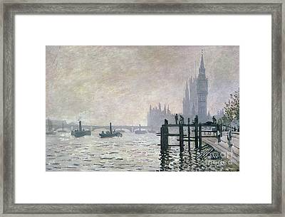 The Thames Below Westminster Framed Print by Claude Monet