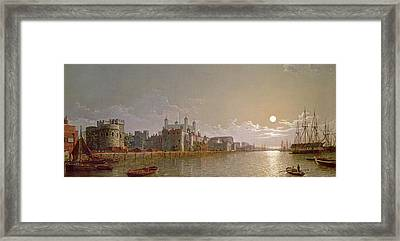 The Thames By Moonlight With Traitors' Gate And The Tower Of London Framed Print by Henry Pether
