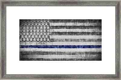 Framed Print featuring the digital art The Thin Blue Line American Flag by JC Findley
