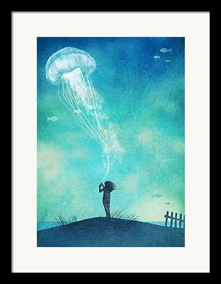 Floating Girl Drawings Framed Prints