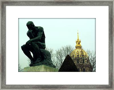 The Thinker And The Chapel Of Saint Louis Des Invalides Framed Print by Susie Weaver
