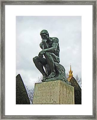 The Thinker By Rodin Framed Print by Al Bourassa