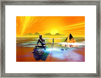 Framed Print featuring the digital art The Thinker by Shadowlea Is