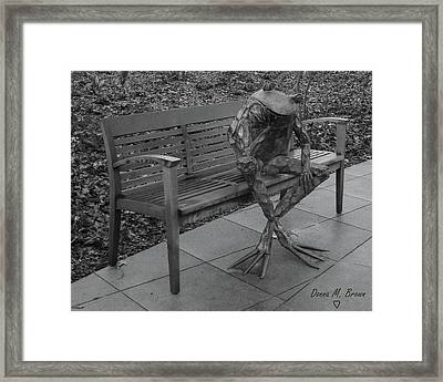 The Thinking Frog Framed Print