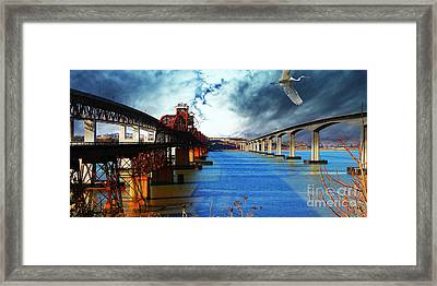 The Three Benicia-martinez Bridges . A Journey Through Time Framed Print