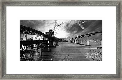 The Three Benicia-martinez Bridges . A Journey Through Time . Black And White Framed Print by Wingsdomain Art and Photography