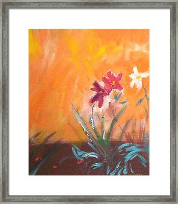 Framed Print featuring the painting The Three Daisies by Winsome Gunning