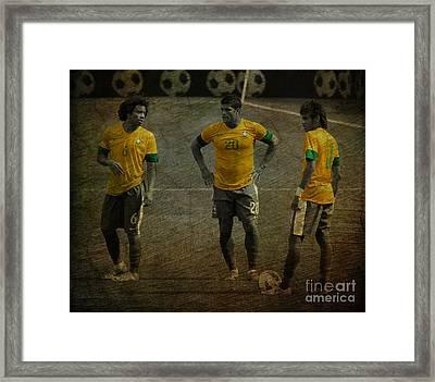 The Three Kings Marcelo Hulk Neymar Os Tres Reis  Framed Print by Lee Dos Santos