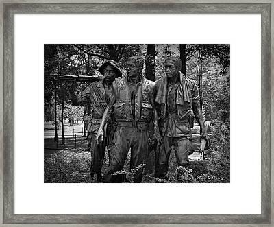 The Three Soldiers Duty Honor Country Vietnam Veterans Memorial  Framed Print by Reid Callaway