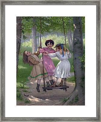 The Three Tom Boys Framed Print by English School