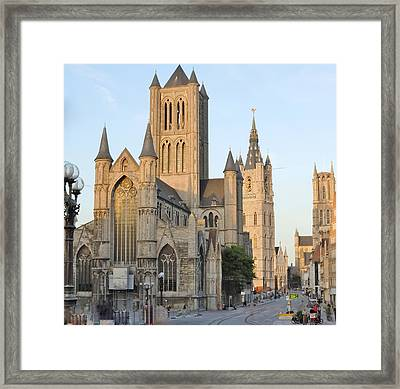 The Three Towers Of Gent Framed Print by Marilyn Dunlap