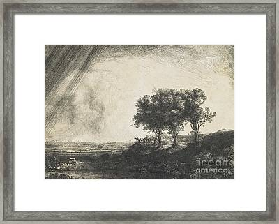 The Three Trees Framed Print by Rembrandt