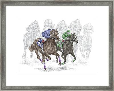 The Thunder Of Hooves - Horse Racing Print Color Framed Print by Kelli Swan