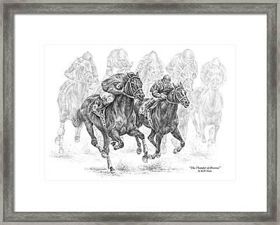 The Thunder Of Hooves - Horse Racing Print Framed Print