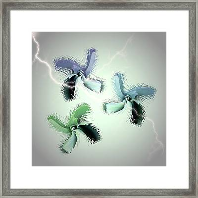 The Thunderbolt Dance Of Rose Butterflies - 4 Framed Print by Jacqueline Migell