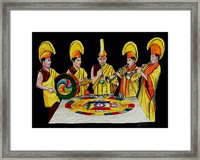The Tibetan Monks At Lilydale Assembly Framed Print by Albert Puskaric