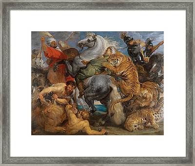 The Tiger Hunt Framed Print by Peter Paul