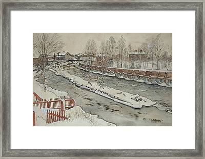 The Timber Chute. Winterscene. From A Home Framed Print