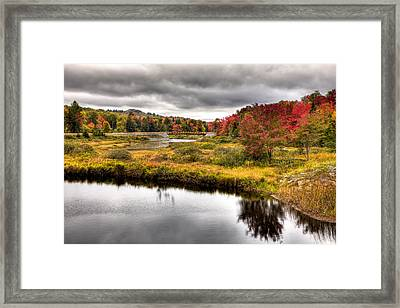 The Tobie Trail Bridge In Autumn Framed Print by David Patterson